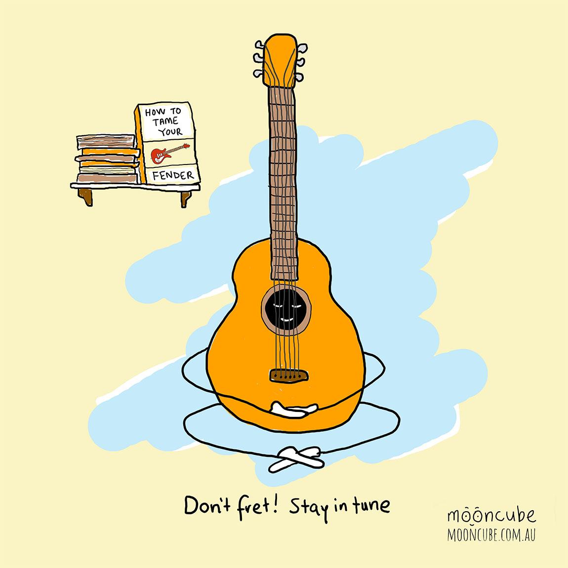 mooncube Artist, Cartoonist. Guitar meditating.