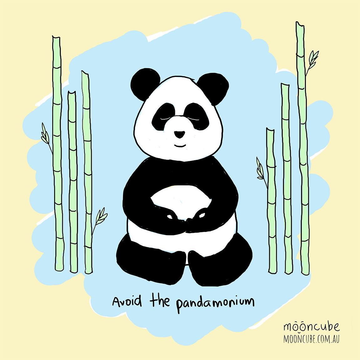 mooncube Artist, Cartoonist. Panda meditation.