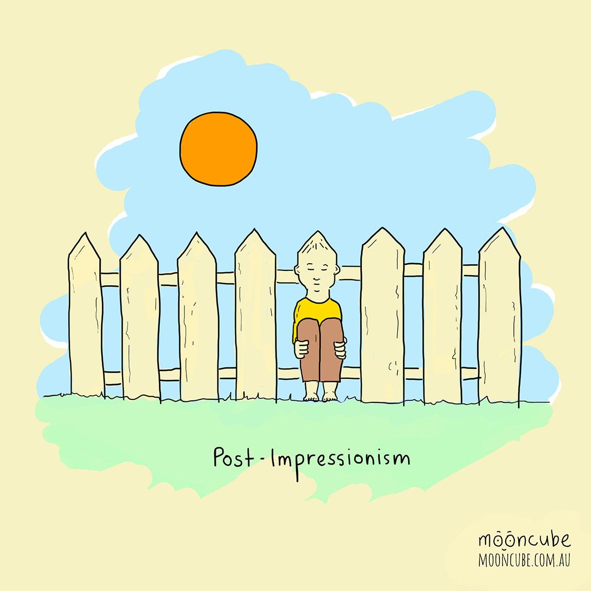 mooncube Artist, Cartoonist. The World Around Us. Art, Post-Impressionism.
